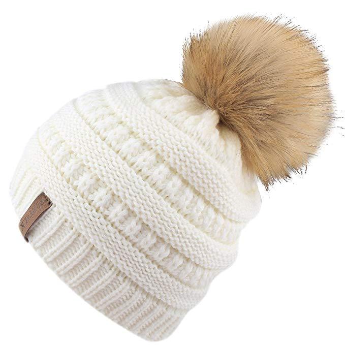 4b5ba43a100 FURTALK Kids Girls Boys Winter Knit Beanie Hats Faux Fur Pom Pom Hat Bobble  Ski Cap Toddler Baby Hats 1-7 Years Old